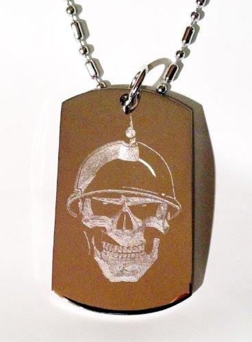 Soilder Skull Helmet Biker Logo Symbols - Military Dog Tag Luggage Tag Key Chain Metal Chain Necklace