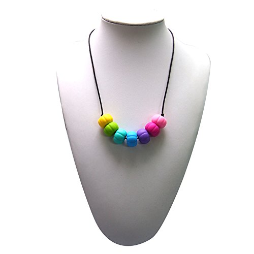 Adelily Nontoxic Nursing & Teething Necklace: Silicone Multicolor Beads in Rainbow Colors