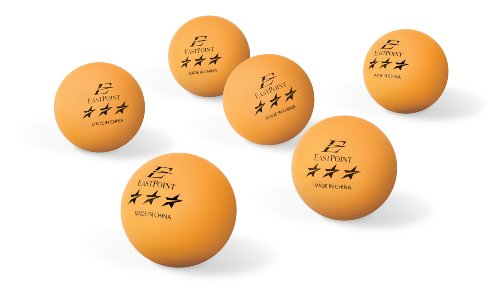 EastPoint 3-Star Table Tennis Balls (6 pack), Orange, 40mm