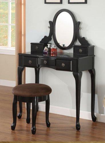 Espresso Vanity Set 5 Drawers w/ Stool &Mirror