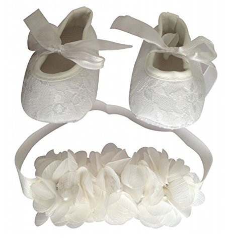 PinkXenia White Flower Diamond Pearl Headbands and silk Satin Soft lace Crib Shoes set