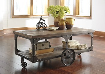 Details for Ashley Vennilux Factory Cart Coffee Table in Gray and Brown by Ashley Furniture