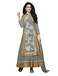 Lookslady Embroidered Grey Net Semi Stitched Salwar Suit