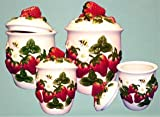 Amazon.com: Strawberry Kitchen Canister Set 4 Strawberries Decor