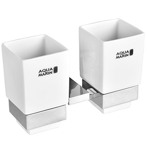 Aquamarin Doppel-Zahnputzbecher aus Keramik mit verchromten Details