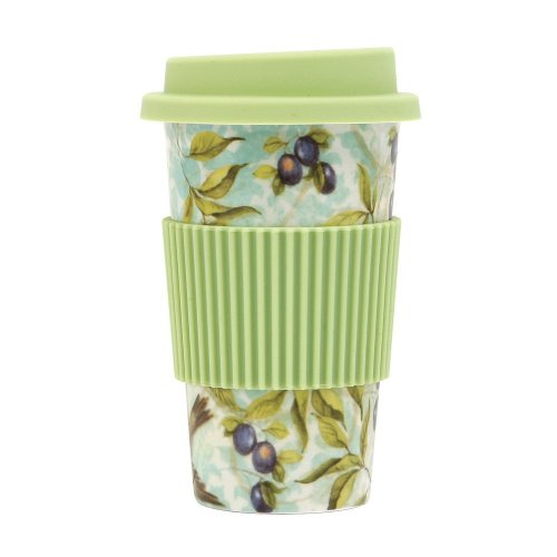 C.R. Gibson Susan Winget Porcelain To Go Cup/Mug, Sanctuary, Green front-360515