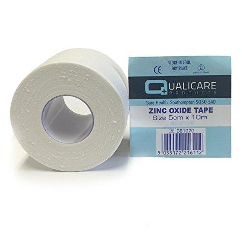 1-rouleau-de-5-cm-x-10-m-qualicare-blanc-adhesif-durable-medical-reliure-sport-oxyde-de-zinc-blessur