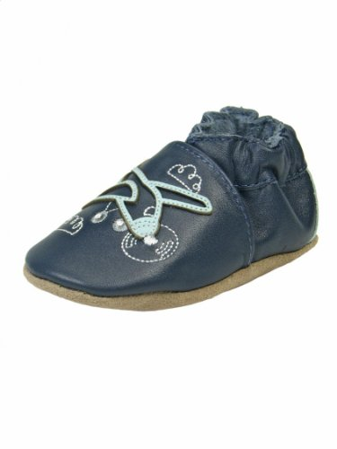 "Robeez Blue Airplane Infant Soft Sole Leather Baby Boy Crib Shoes By Robeez - Navy - 0-6 Mths / Up To 6 Mths / 3.50-3.75"" front-222605"