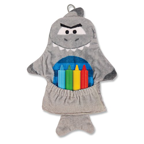 Stephen Joseph Bath Mitt and Crayons Shark, Grey - 1
