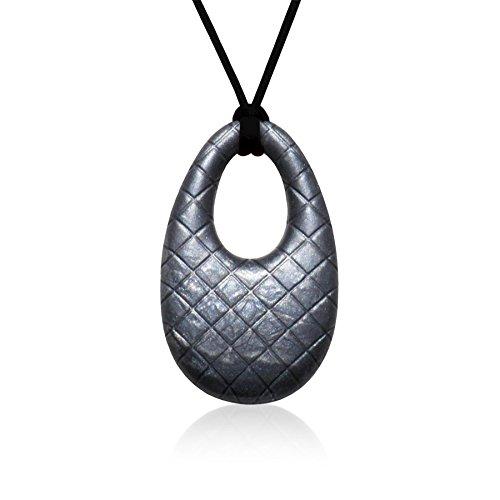 Siliconies Metallic Egg Pendant (Teething, Nursing, Sensory) - Discounted due to uneven coloring (Metallic Black)