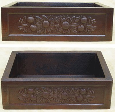 FHA33FS inchHammermarc Copper Kitchen Sink Designer Front-Fruit Swag