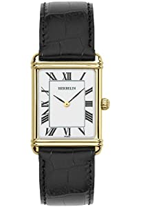 Montre Herbelin Homme 17468/P01 cuir noir rectangle plaqué or cadran blanc