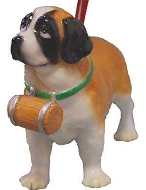 Cute Christmas Holiday Saint Bernard Dog Ornament