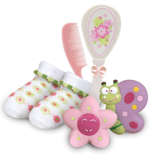 Stephan Baby Bath Squirters, Bootie Socks and Brush/Comb Gift Set, Swirly Flower