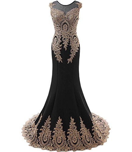 Kivary Women's Gold Lace Sexy Mermaid Sheer Formal Corset Prom Evening Dresses Black US 22