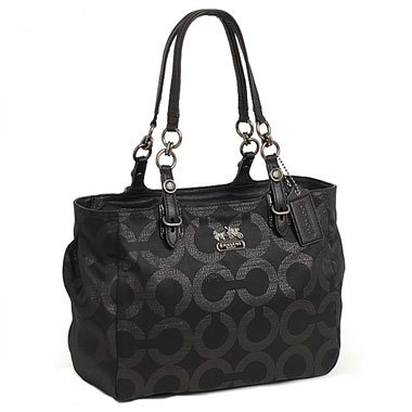 Coach Signature Op Art Mia Lurex East West Gallery Book Bag Tote