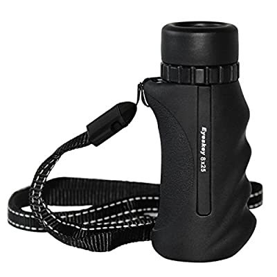 Eyeskey Mini Portable 8x25 / 10x25 Waterproof Monocular Bak-4 Prism Monocular Scope Come with Neck Strap for Easy Take