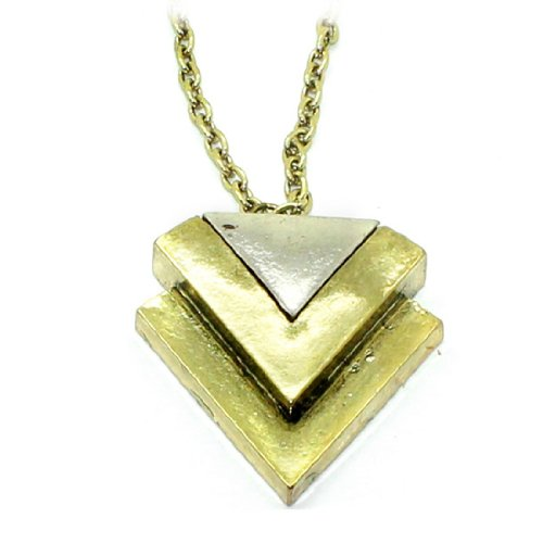 Womens 29-Inch Double Triangle Metal Pendant Chain Necklace / Jewellery