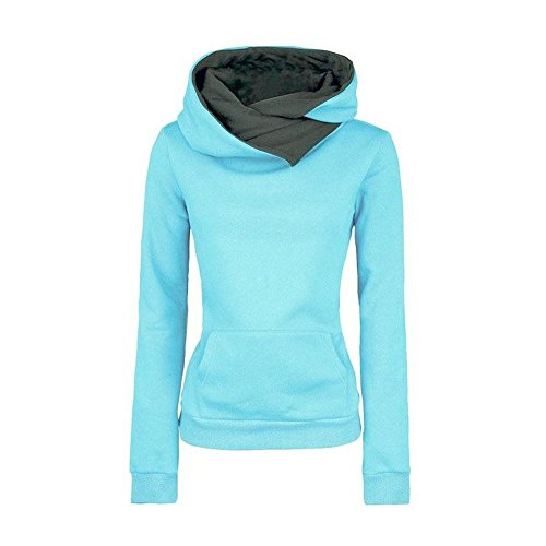 Star Fashion Ligth Blue sweatshirt Hoodies Unisex Pullovers Turn-down Collar-M