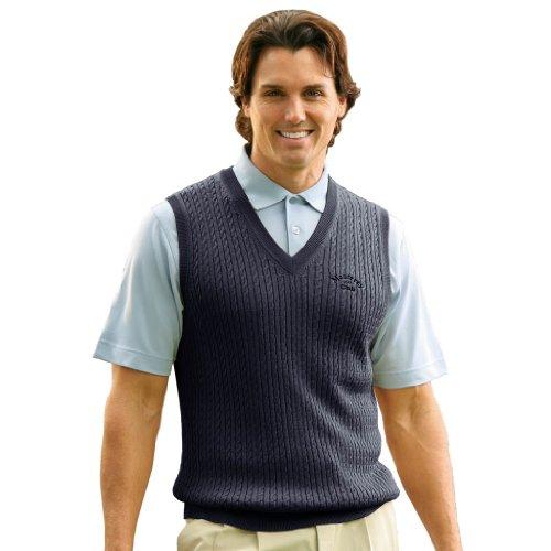 Monterey Club Mens Classic 12 Gauge V-Neck Sweater Vest #1954 (Navy, Large)