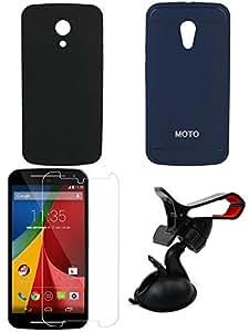 NIROSHA Tempered Glass Screen Guard Cover Case Mobile Holder for Motorola G2 2nd Gen - Combo