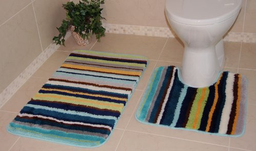 Bolero Shaggy Blue Green Stripe Bath and Pedestal Non Slip Bathroom Mats 2 Piece Set 861 - 2 Sizes