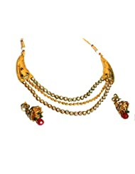 IndiaVogue Gold Plated Polki Necklace Set