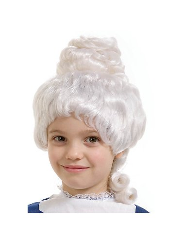 Girl's White Colonial Wig