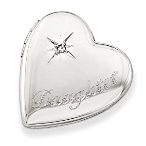 Diamond Heart Pendant in Sterling Silver - Round Brilliant Shape - Excellent