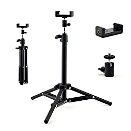 Extendable Tripod Stand with Cell Phone Mount Bracket & Swivel Ball Head