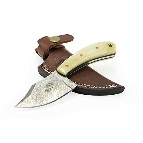 """Knives Ranch Damascus Steel Knives 6.75"""" Knive with Bone Handle and Leather Sheath"""