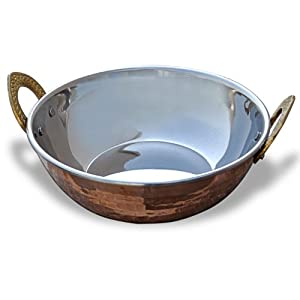 Amazon.com: Indian Copperware Serving Karahi Handmade Tableware ...