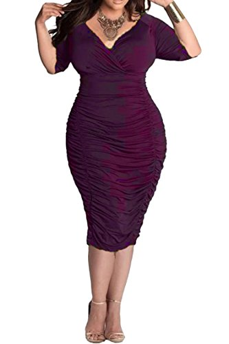 Pink Queen Womens Plus Size Deep V Neck Wrap Ruched Waisted Bodycon Dress XL Purple