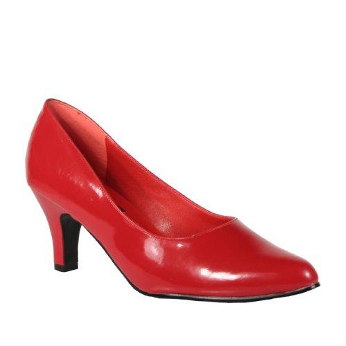 Wedding Shoes: DIVINE 3 Inch Block Heel Classic Pump Shoes Red Patent Pleaser-Pleaser Wedding Shoes-Pleaser Wedding Shoes: DIVINE 3 Inch Block Heel Classic Pump Shoes Red Patent Pleaser-Pump Wedding Shoes