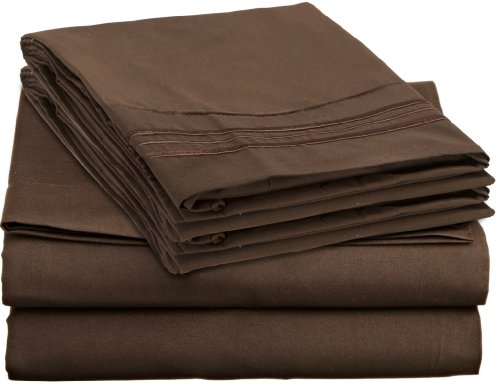 QUEEN Size CHOCOLATE - 4 piece Silky Soft Bed Sheet Set 1800 series