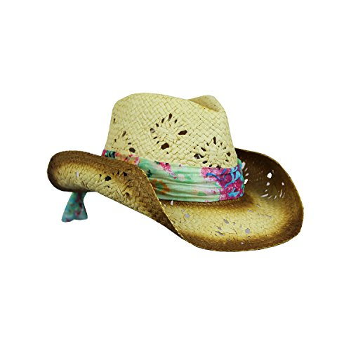Coral Tropical Scarf, Cute Straw Cowboy Hat, Tea Stain Edges, Shapeable Brim