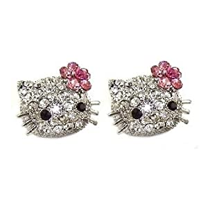 "Large 3/4"" Swarovski Crystal Kitty Stud Earrings w/ Pink Flower Bow - Silver Plated - FREE SHIPPING"