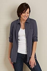 Fair Indigo Pima Organic Cotton Relaxed Knit Button Down Shirt