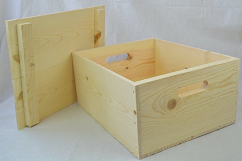 Wooden Pine Box with Hand Holes and a Drop on Lid (Wood Storage Box With Lid compare prices)