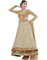 Exotic India Crme-Brulee Double Layered Anarkali Suit With Zardosi Embroi - Grey
