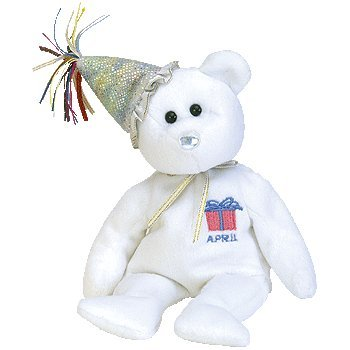 Ty Beanie Babies April the Birthday Bear W/hat Retired