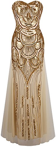 Angel-fashions Women's Sequin Gold Mesh Lace up Banquet Dress Small