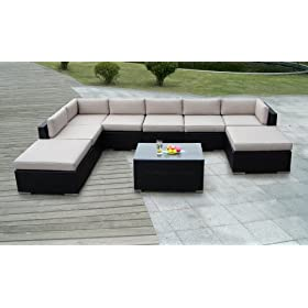 Genuine Ohana Outdoor Patio Sofa Sectional Wicker Funiture