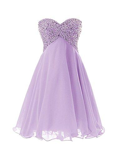 JAEDEN Donne Senza spalline Abiti damigella d'onore Corto Chiffon Paillettes Abiti da ballo Vestito da festa Lavendel EUR34
