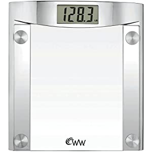 "Conair WW44 Weight Watchers Chrome/Glass Scale, 1.5"" LCD, 400 lb capacity"