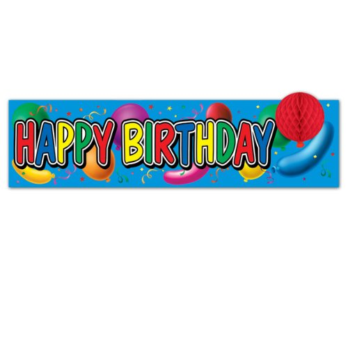 Happy Birthday Sign w/Tissue Balloon Party Accessory (1 count) (1/Pkg)