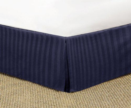 "650 Tc Egyptian Cotton Bedding 1X Bed Skirt 30"" Drop Queen (60""X80"") Navy Blue Stripe back-526704"
