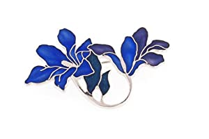Hand enameled art nouveau styled lily brooch or pin