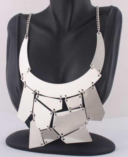 Ladies Silver Fashion Statement Shattered Glass Style 18 Inch Necklace with Matching Dangle Earrings Jewelry Set