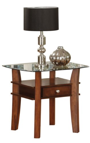 Image of Acme 16232 Karlyn Glass Top End Table, Cherry Finish (B0044G2ZZE)